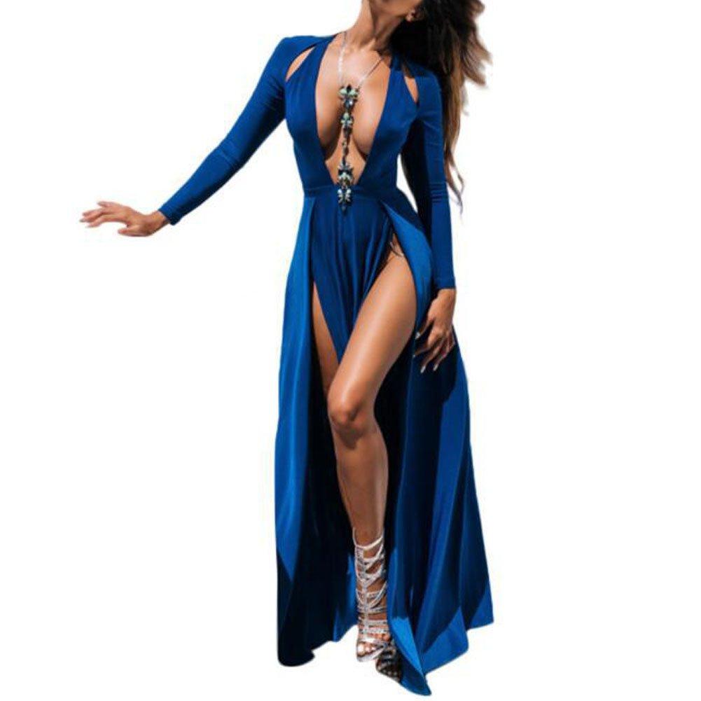 6fafaf3244122 Bodycon4U Women Sexy High Slit Plunging V Neck Long Sleeve Club Party Beach  Maxi Dress