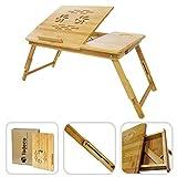 Mesa para ordenador portátil - Tableta inclinable con diseño de bambú