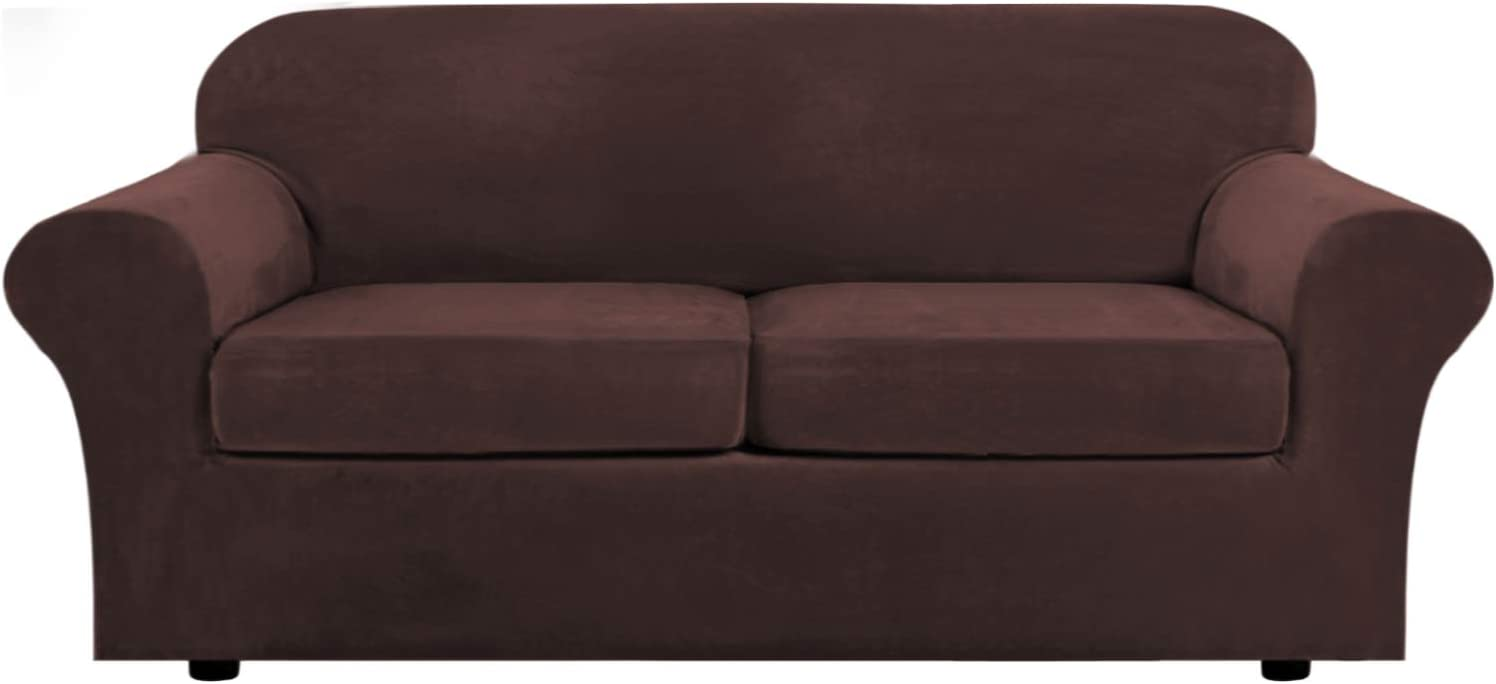 H.VERSAILTEX Real Velvet Plush 3 Piece Stretch Sofa Covers Couch Covers for 2 Cushion Couch Sofa Slipcovers (Base Cover Plus 2 Large Cushion Covers) Feature Thick Soft Stay in Place (Sofa, Brown)