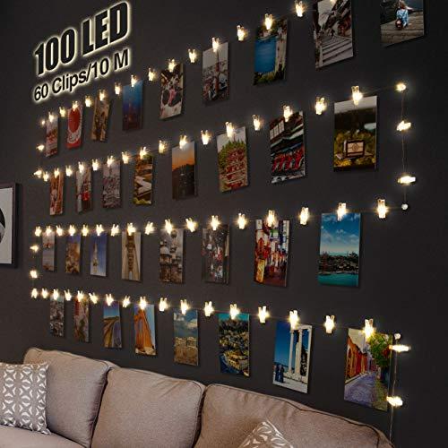 Litogo Clip Cadena de Luces LED, 10m 100 Led Colgar Fotos de Luces 60 Pinzas Para Fotos Fotoclips Guirnalda de Luces Pinzas con Luz para Colgar Fotos Por decoracion, Habitaciones, Bodas,Cumpleanos