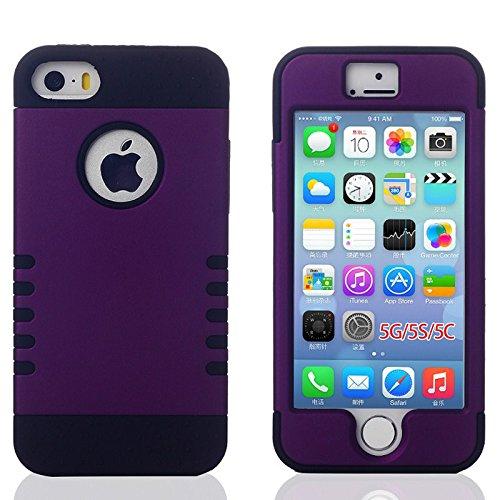 Impresionante Color Dual! 2 En 1 Híbrido De Alto Impacto Combo Robot Diseño De Goma De Silicona + Matt Pc Teléfono Caso De La Cubierta Para El Iphone 5 5s (Black/purple)