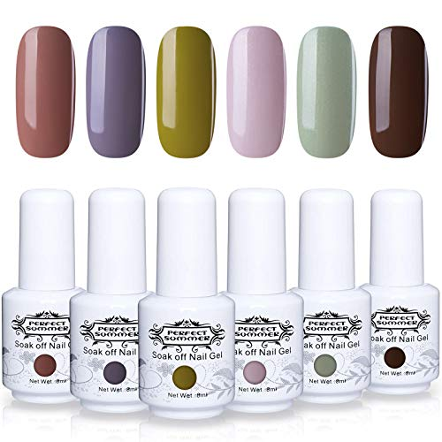 Perfect Summer Gel Nail Polish Set - 6PCS Popular Colors Gel Nail Varnish UV LED Manicure Soak Off Lacquer Nail Art System Gift Set 8ML 095