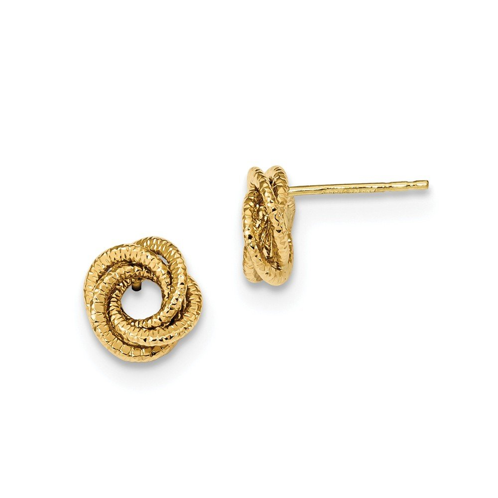 Solid 14k Yellow Gold Polished Textured Love Knot Post Earrings