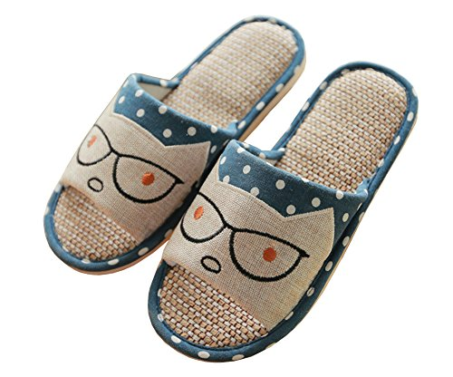 Carpet Slippers Hemp Breathable Cartoon Men's Women's Men Cute Child Kids Blue iDuoDuo Parent Slippers Indoor gxwBq7XYp