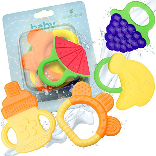 Baby Teething Toys (Natural, Organic, BPA- Free, Freezer Safe) | 5 Pack Baby Teether Set for 3 to 12 Months Old (Babies, Infants, Toddlers)