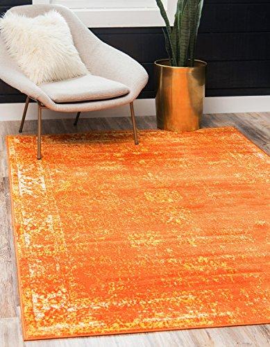 Unique Loom Sofia Collection Traditional Vintage Orange Home Décor Area Rug (4' x (Orange Carpet)