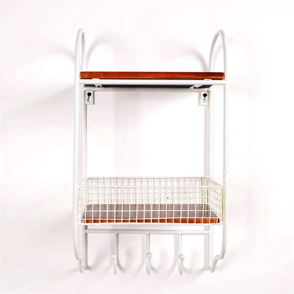 Lil Wall European - Style Solid Wood Shelves Books Racks Living Room Iron Double Shelves Wall Decoration Storage Rack
