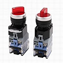 Uptell 2Pcs AC 600V 10A 3 Position ON-OFF-ON DPDT Rotary Selector Switch w LED Light
