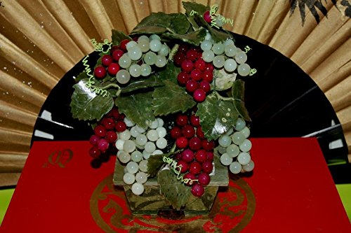 Small Jade Grape Tree with stone base, about 7 inches wide X 9 inches tall X 3.5 inches deep.
