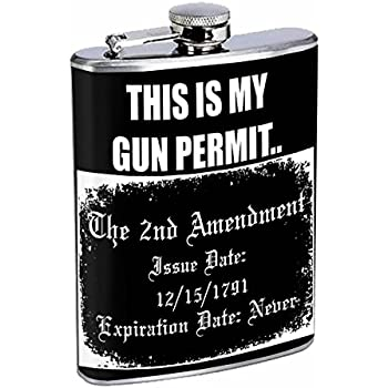806a258767e0 2nd Amendment Flask D10 8oz Stainless Steel Bill of Rights Keep and Bear  Arms Gun Rights