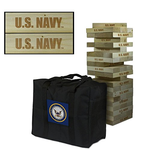 US Navy Wooden Tumble Tower Game by Victory Tailgate