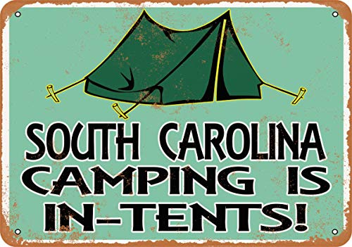 Wall-Color 7 x 10 Metal Sign - South Carolina Camping is in-Tents - Vintage Look
