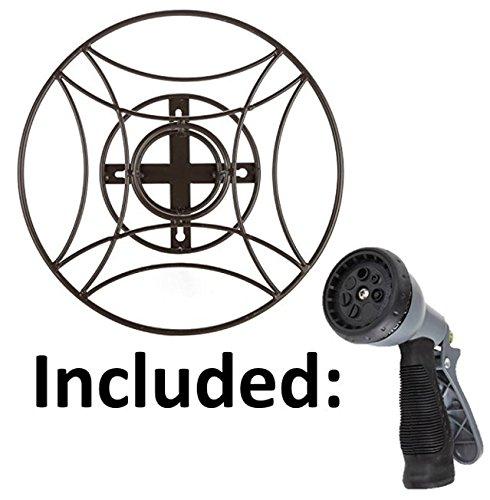 Amazon.com : Garden Hose Hanger. Wall Mount Hose Holder Including Spray  Nozzle  Black : Garden U0026 Outdoor