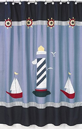 Sweet Jojo Designs Come Sail Away Nautical Kids Bathroom Fabric Bath Shower  Curtain