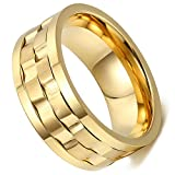 Flongo 9MM Mens Stainless Steel Gold Plated Rotatable Stylish Brick Double Gear Shaped Wedding Ring,with Gift Bag