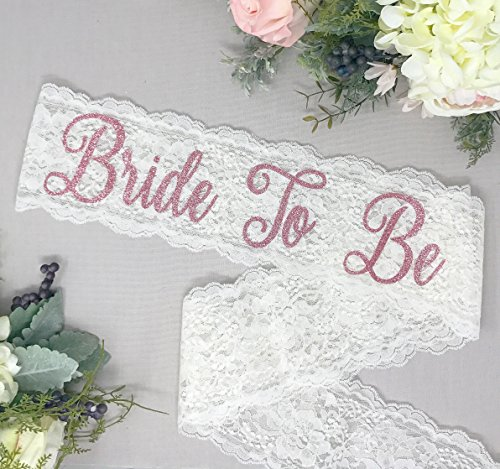 Ivory Lace Bachelorette Sash - Rose Glitter ''Bride To Be'' by Lauren Lash Designs