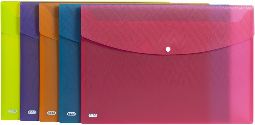 Plastic snap Closure Translucent Pack of 5 Assorted a4 Blue Urban A4 Elba Wallets Rounded Corners