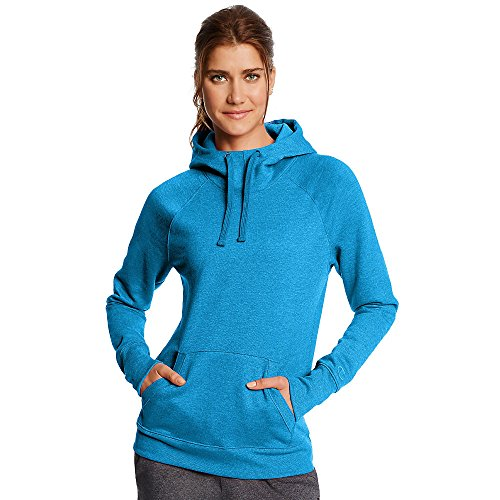 Champion Women's Fleece Pullover Hoodie_Underwater Blue Heather_L