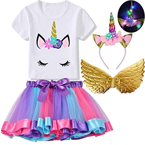 4Pcs Baby Girls Unicorn Dress with Wings Rainbow Tutu Skirts Unicorn T-Shirt LED Headband Birthday Party Costume Dress]()