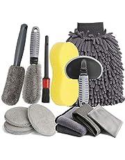 LICQIC Autoverzorgingsset, 12-delige reinigingsset, microvezel, voor het wassen van de auto, motorfiets, binnen en buiten, huishoudelijke reiniging