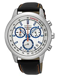 Seiko SSB209 Men's Leather Strap Chronograph Wrist Watch