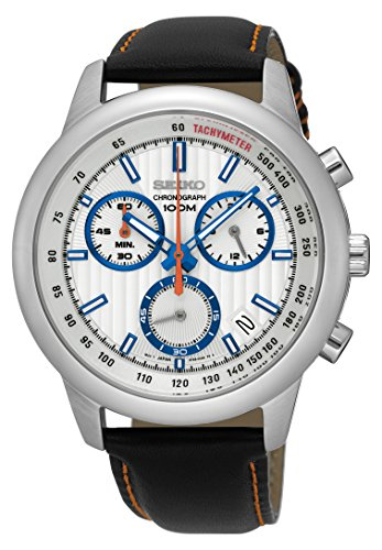 Seiko White Dial Mens Chronograph Leather Watch SSB209