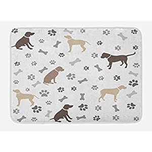 "Ambesonne Dog Lover Bath Mat, Paw Print Bones and Dog Silhouettes American Foxhound Breed Playful Pattern, Plush Bathroom Decor Mat with Non Slip Backing, 29.5"" X 17.5"", Umber Beige Grey 7"