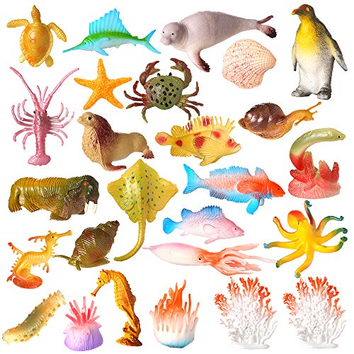 Auihiay 26 Pieces Sea Animal Toys Ocean Sea Animal Figures Set Bath Toy for Child Educational Party Cake Cupcake Topper ()