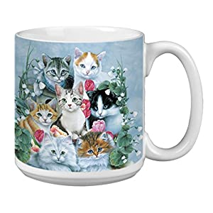 Cute Cuddly Kittens Extra Large Mug, 20-Ounce Jumbo Ceramic Coffee Mug Cup, Pet Themed Art – Gift for Cat Lovers Tree…