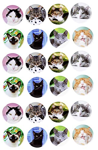 Cat Button Pins - 24-Pack Pinback Backpack Badge, 8 Assorted Cat Pose Designs, Birthday Party Favors, Pinata Fillers, Christmas Stockings Stuffers, Gifts For Pet Lovers, 2.3 Inches