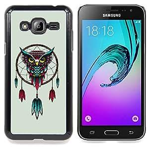 "Qstar Arte & diseño plástico duro Fundas Cover Cubre Hard Case Cover para Samsung Galaxy J3(2016) J320F J320P J320M J320Y (Sueño Dibujo Catcher Owl Arte rojo de la turquesa"")"