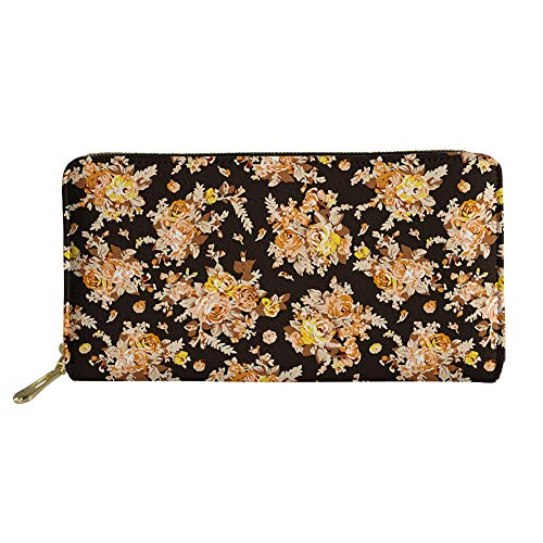 Women Vintage Floral Print PU Leather Long Wallet Clutch Zipper Purse Phone Card Holder