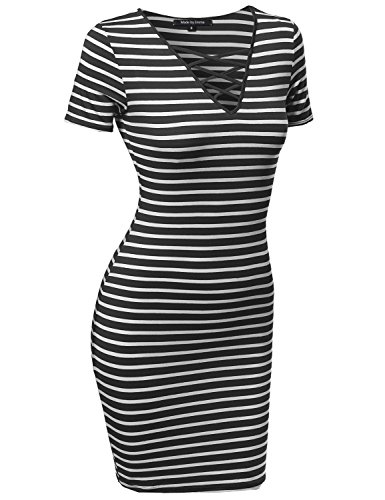 Made by Emma Womens Basic Every Day Lattice-Front Stripe Short Sleeves Dress