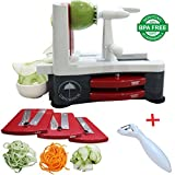 ultra durable tri blade slicer - Spiralizer 3-Blade Vegetable Slicer Strongest and Heaviest Duty Kitchen Gadgets Tool For Home & Kitchen Or Commercial Use Best Way To Make Good Veggie Pasta And Spaghetti Salad / Bonus Free Peeler
