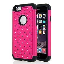 iPhone 6 6S Rhinestone Bling Diamond Hybrid Rugged Rubber Case Cover Skin - Hot Pink