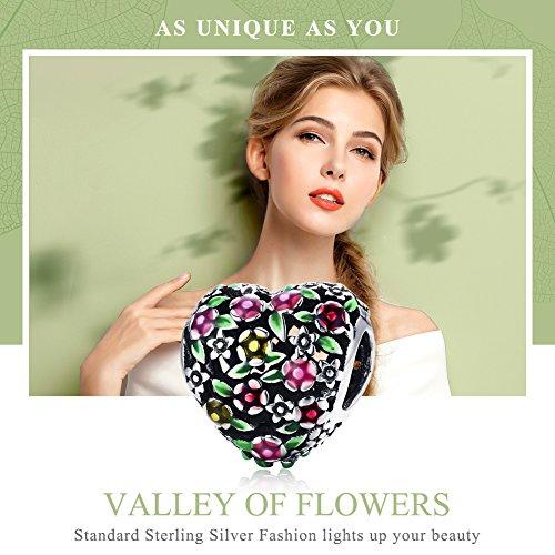 BAMOER 925 Sterling Silver Heart Charm Bead Love Charm Fit for Snake Chain Bracelet Spring Flower Charm by BAMOER (Image #7)