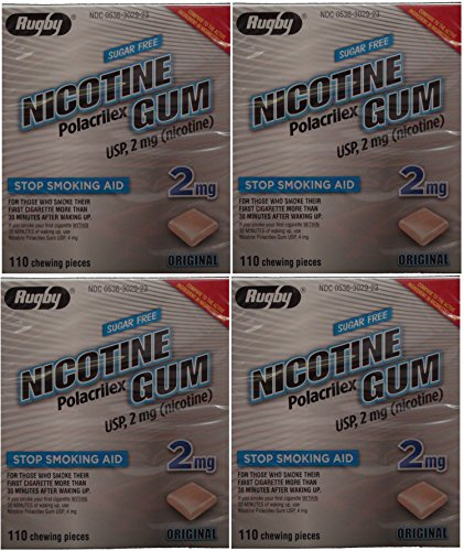 Nicotine Gum 2mg Sugar Free Original Generic for Nicorette 110 Pieces per Box Pack of 4 Total 440 Pieces by RUGBY LABORATORIES