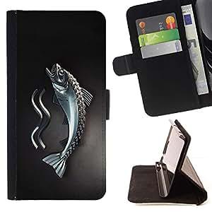 For Samsung Galaxy S5 Mini (Not S5), SM-G800 Case , Metal Fish- la tarjeta de Crédito Slots PU Funda de cuero Monedero caso cubierta de piel