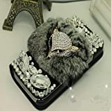 EVTECH(TM) Luxury Crystal Diamond Bling Charming Plush Design PU Leather Wallet Cover Case for Samsung Galaxy S4 9500 9505 M919(not fit S4 active version)