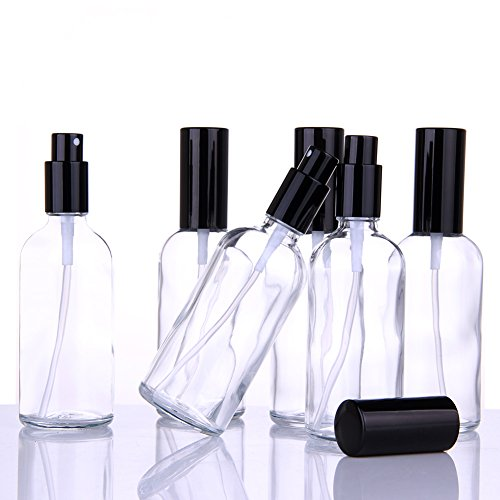 Small Clear Glass Spray Bottles for Aromatherapy Essential Oils – Refillable 4 oz Fine Mist Sprayers with black Tops, 6 PACK Set