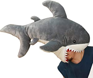 B-CREATOR Shark Stuffed Animal ???? Funny Party Gray Cuddly Soft Giant Shark Fluffy Fish Plush Toy, 35 inches