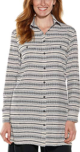 (Coolibar UPF 50+ Women's Santorini Tunic Shirt - Sun Protective (Small- Black/Tan Moroccan)