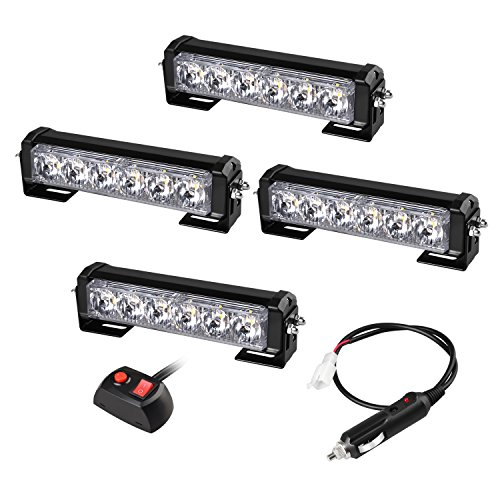 Flash Warning System - Strobelight bar Emergency Warning Flash Light System Set with SYNC Feature 24W Cable Harness for Trucks SUVs and Utility Vehicle Amber