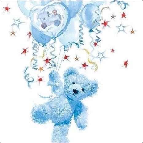 40 Napkins Blue Baby Boy Shower Teddy Birth Christening