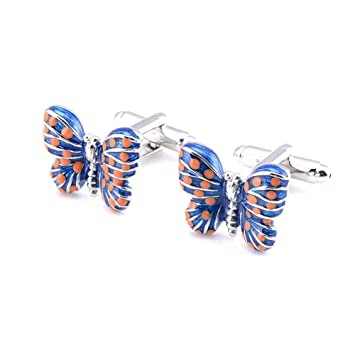 Hacoly Pares de Gemelos Cloisonne Mancuernas de Camisa Azul en Forma de Mariposa y 2 Piezas Especiales: Amazon.es: Hogar