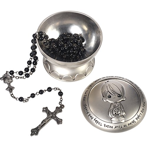 Precious Moments 172410 May His Light Shine in Your Heart Today & Always Boy First Communion Rosary & Silver Zinc Alloy Rosary Box -