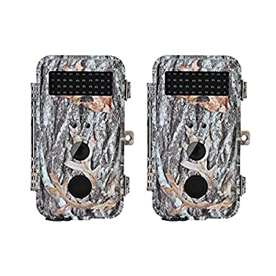 "BlazeVideo 2-Pack 16MP HD Game & Trail Cameras Hunting Wildlife Deer Cameras F2.0 Lens Scouting Cam Motion Activated Waterproof with Night Vision 40pcs IR LEDs Up to 65ft, Video Record, 2.36"" LCD from BlazeVideo"