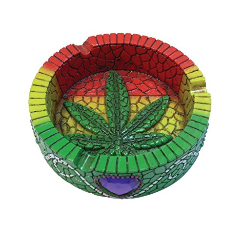Rockin Gear Ashtray Marijuana Pot Leaf Mosaic Ashtray Cigarette - Leaf Pot Ashtray