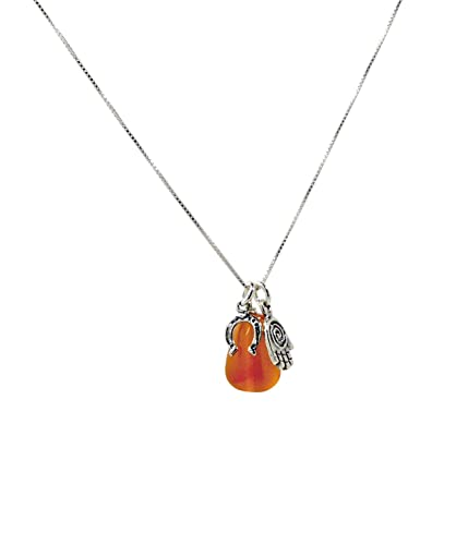 MIZZE Made for Luck Energy Drop Carnelian Pendant and Necklace with Protection Hamsa Horseshoe Charms in Sterling Silver