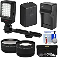Essentials Bundle for Panasonic V770, VX870, VX981, WX970, & WXF991 Camcorder with LED Video Light + Tele & Wide Lenses + 3 Filters + Battery & Charger + Kit